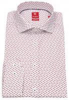Hemd - Slim Fit - Print - Stretch - rot / weiß