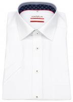 Kurzarmhemd - Modern Fit - Patch - Kontrastgarn - weiß