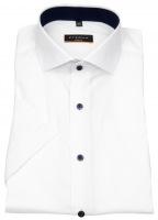 Kurzarmhemd - Slim Fit - Stretch - Kontrastknöpfe - weiß