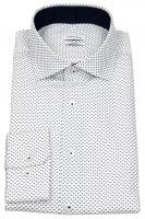 Hemd - Shaped Fit - Spread Kent Kragen - weiß / dunkelblau