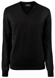Pullover - Comfort Fit - V-Ausschnitt - Merinowolle - schwarz