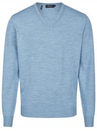 MAERZ Muenchen Pullover - Comfort Fit - V-Ausschnitt - Merinowolle - hellblau