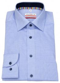 Hemd - Modern Fit - Kontrastknöpfe - fein kariert - blau