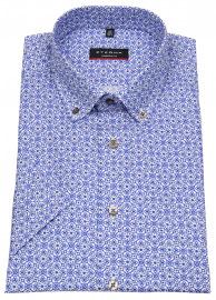 Kurzarmhemd - Modern Fit - Button Down - Print - blau / weiß