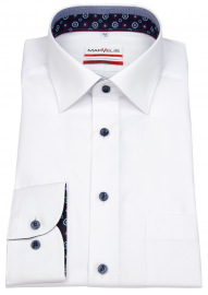 Marvelis Hemd - Modern Fit - Patch - Kontrastknöpfe - weiß