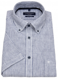 Casa Moda Kurzarmhemd - Casual Fit - Leinen - Button Down- Streifen - blau