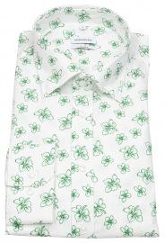Hemd - Shaped Fit - Under Button Down - Print - weiß / grün