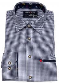 Trachtenhemd - Casual Fit - blau / weiß kariert