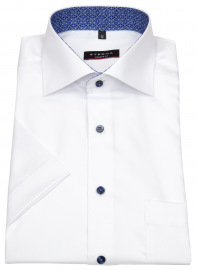 Eterna Kurzarmhemd - Modern Fit - Kontrastknöpfe - weiß