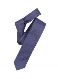 Seidenkrawatte - Slim - dunkelblau / grau gestreift