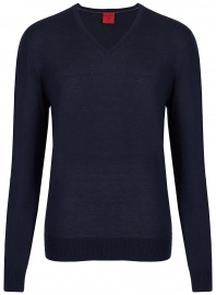 Pullover - Level Five - V-Ausschnitt - Merinowolle - dunkelblau