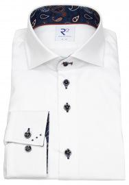 R2-Amsterdam Hemd - Modern Fit - Haifischkragen - Kontrastknöpfe - weiß