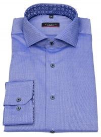 Hemd - Modern Fit - Haikragen - Natté - Kontrastknöpfe - blau