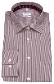 Hemd - Regular Fit - Streifen - weiß / dunkelrot
