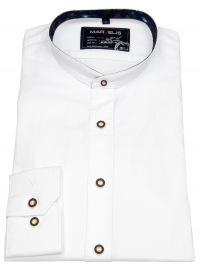 Trachtenhemd - Casual Fit -Stehkragen - weiß