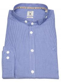 Trachtenhemd - Slim Fit - Stehkragen - Streifen - blau / weiß