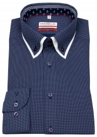 Hemd - Modern Fit - unterlegter Button Down Kragen - dunkelblau