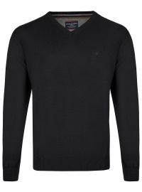 Pullover - V-Ausschnitt - schwarz