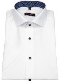 Kurzarmhemd - Modern Fit - Kontrastknöpfe - weiß