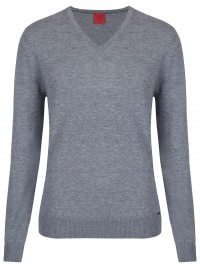 OLYMP Pullover - Level Five - V-Ausschnitt - Merinowolle - grau