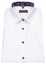 Marvelis Kurzarmhemd - Body Fit - Patch - Kontrastknöpfe - weiß