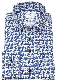 R2-Amsterdam Hemd - Modern Fit - Haifischkragen - Bio Baumwolle - blau