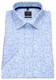 OLYMP Kurzarmhemd - Luxor Modern Fit - Muster - hellblau / weiß