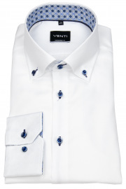 Hemd - Modern Fit - Button Down - Kontrastknöpfe - weiß