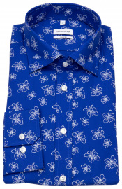 Hemd - Shaped Fit - Under Button Down - Print - blau / weiß