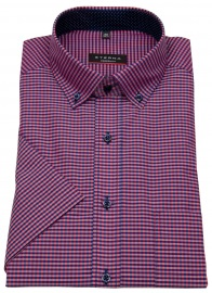 Kurzarmhemd - Modern Fit - Button Down - rot / blau