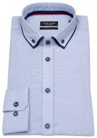 Hemd - Modern Fit - unterlegter Button Down - hellblau