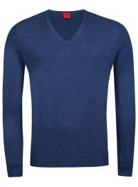 Pullover - Level Five - V-Ausschnitt - Merinowolle - blau