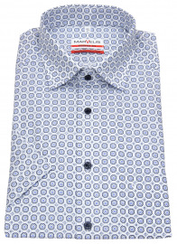 Kurzarmhemd - Modern Fit - Under Button Down - blau