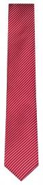 Seidenkrawatte - Slim - rot / hellgrau - fein gestreift