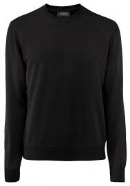 Pullover - Comfort Fit - Rundhals - Merinowolle - schwarz