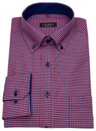 Hemd - Comfort Fit - Button Down - rot / dunkelblau