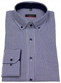 Hemd - Modern Fit - Button Down - dunkelblau / weiß