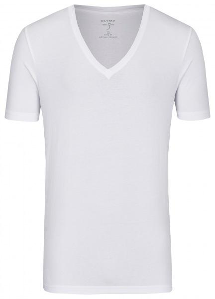 OLYMP Level Five Body Fit - T-Shirt - tiefer V-Ausschnitt - weiß - 0804 12 00