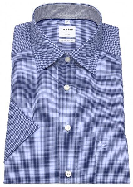 OLYMP Kurzarmhemd - Luxor Comfort Fit - Check - blau / weiß - 3190 12 19