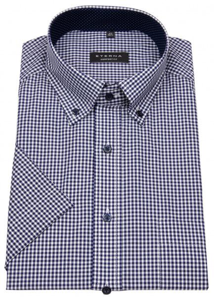 Eterna Kurzarmhemd - Comfort Fit - Button Down - kariert - blau - 8913 K144 16